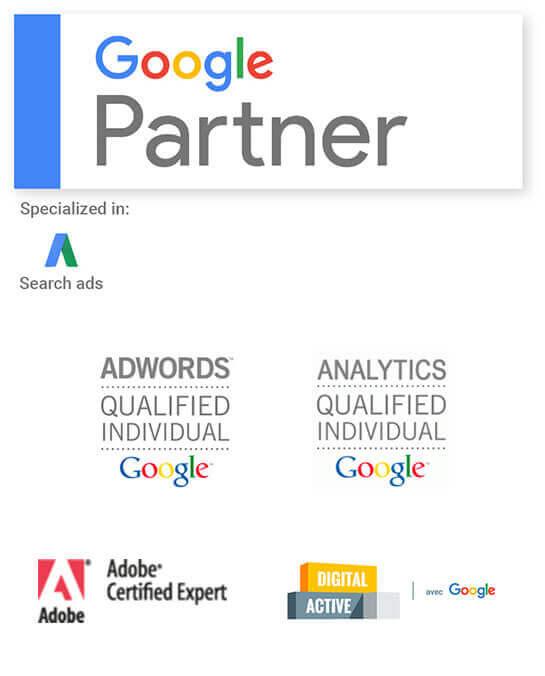 certifications Google Adwords, Analytics et Adobe