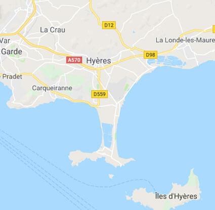 image d'une carte représentant Hyères sa presqu'île et ses îles