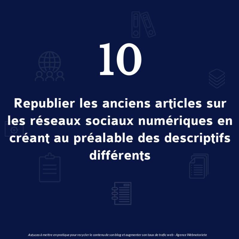 Astuce 10 : Republier vos anciens articles sur les réseaux sociaux numériques en créant au préalable des descriptifs différents