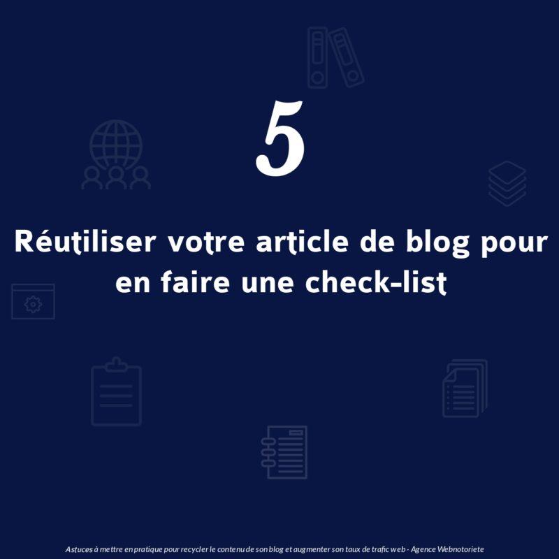 Réutiliser un article de blog pour en faire une checklist